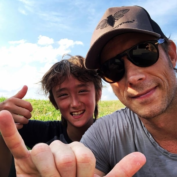Kris Holden-Ried with his son